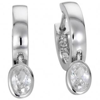 Basic Silber Damen SCR12 Creolen Silber Zirkonia Weiß