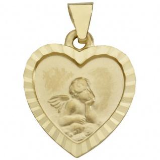 Basic Gold EN30 Kinder Anhänger Herz Schutzengel 14 Karat (585) Gold