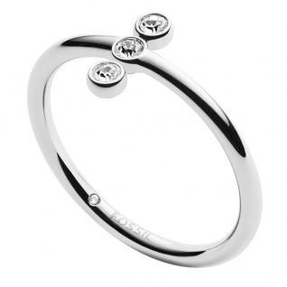 Fossil JF02592040505 Damen Ring Edelstahl Silber Weiß 53 (16.9)