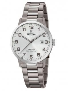 FESTINA F20435/1 Uhr Herrenuhr Titan Datum Silber