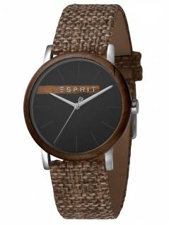 Esprit ES1G030L0045 Plywood Black Grey Canvas-G Damenuhr Lederarmband