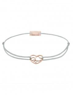 MOMENTOSS 21202072 Damen Armband Filo Herzen Rose hellgrau 19 cm