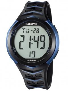 Calypso K5730/2 Chrono Uhr Herrenuhr Kunststoff Datum Alarm schwarz