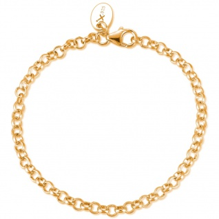 GOOIX GXC415 Damen Charms Armband Sterling-Silber 925 Gold 21 cm