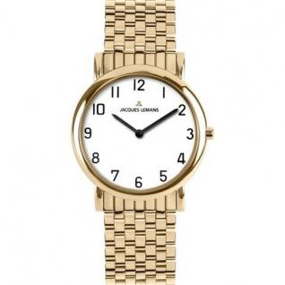 Jacques Lemans 1-1369N Herren Uhr vergoldet 50m Analog