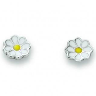 Basic Silber 01.KS109 Mädchen Ohrstecker Blume Silber gelb weiß