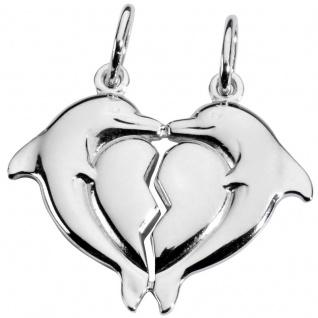 Basic Silber SL13 Anhänger Partneranhänger Delfin Herz Silber