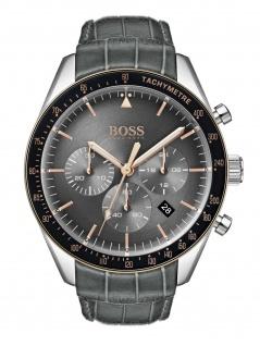 Hugo Boss 1513628 TROPY Chronograph Uhr Herrenuhr Leder Datum Grau