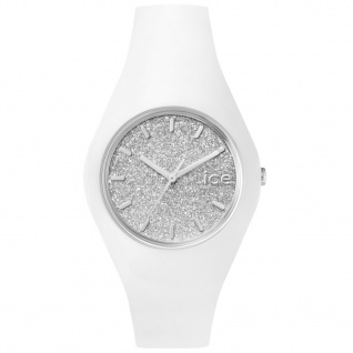 Ice-Watch ICE GLITTER White Silver Unisex Uhr Damenuhr Silikon weiß