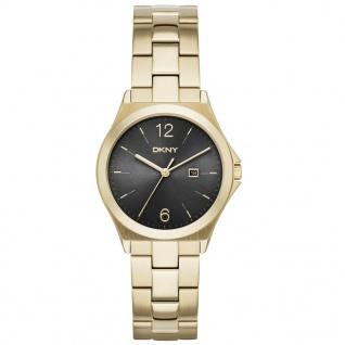 DKNY PARSONS Uhr Damenuhr Edelstahl Datum gold