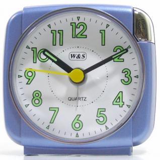 W&S 200601 Wecker Uhr blau-weiß leise Sekunde Analog Licht Alarm
