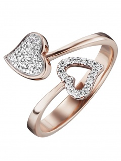Julie Julsen JJRG0272.2 Damen Ring Herz Sterling-Silber 925 Rose Weiß - Vorschau
