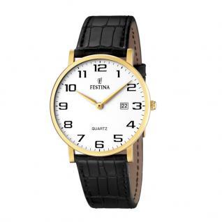 FESTINA F16478/1 Uhr Herrenuhr Lederarmband Datum Schwarz