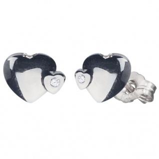 Herzengel HEN-2HEARTS-ST Mädchen Ohrstecker Herzen Silber Weiß - Vorschau 1