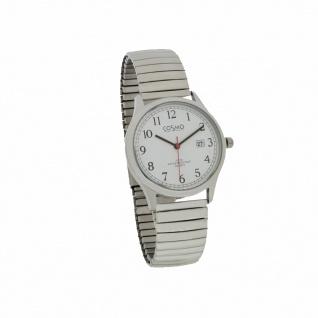 Cosmo 301116-ZB-ZI-weiss Uhr Herrenuhr Zugband Datum silber