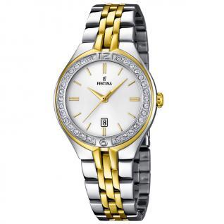 FESTINA F16868/1 TREND Uhr Damenuhr Edelstahl Datum bicolor gold