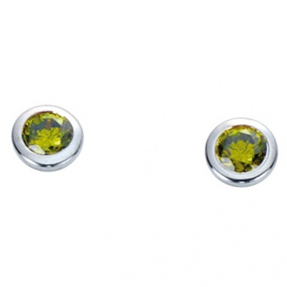 Basic Silber 01.1096G Damen Ohrstecker Silber Zirkonia grün