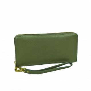 Fossil Geldbörse Emma Large Zip RFID Clutch Grün Damen Leder Börse
