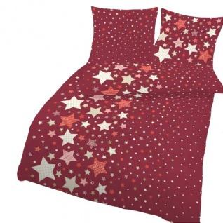 IDO Fein Biber Bettwäsche 135 x 200 cm / 80 x 80 cm Rot Beige Sterne