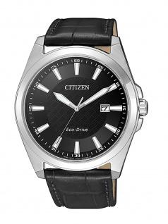 Citizen BM7108-14E Uhr Herrenuhr Lederarmband Datum Schwarz