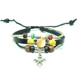 CJBB4408 Damen Armband Kreuz Leder schwarz