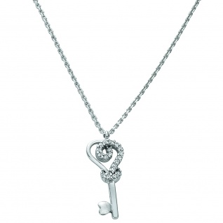 Basic Silber 11.EX103 Damen Collier Schlüssel Silber weiß 42, 5 cm