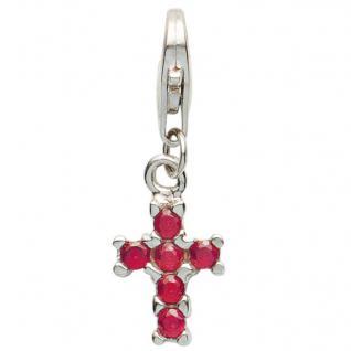 Basic Silber 22.VX098.R Damen Charms Kreuz Silber Zirkonia pink
