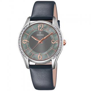 FESTINA F16944/B Uhr Damenuhr Lederarmband grau