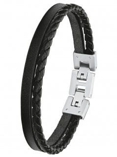 s.Oliver 2027411 Herren Armband Edelstahl Silber schwarz 21, 5 cm