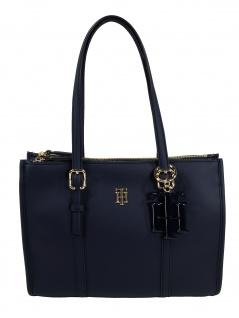 Tommy Hilfiger Damen Handtasche Tasche TH Chic S Satchel Blau