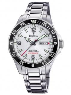 Festina F20478/1 Automatik Automatic Uhr Herrenuhr Datum silber
