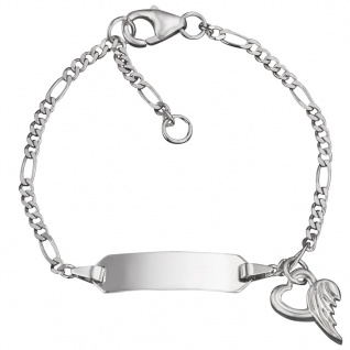 Herzengel HEB-NAME-01H Mädchen Armband Gravurarmband Silber 14 cm