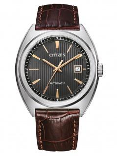 Citizen NJ0100-03H Mechanisch Uhr Herrenuhr Lederarmband Datum braun