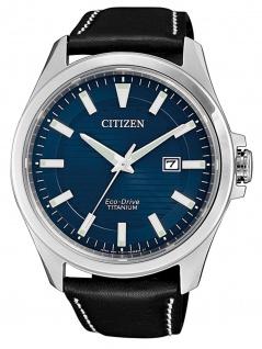 Citizen BM7470-17L Eco-Drive Uhr Herrenuhr Lederarmband Datum Schwarz