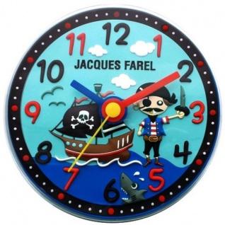 JACQUES FAREL WAL05 Pirat Kinderzimmer Wand Uhr lautlos Junge