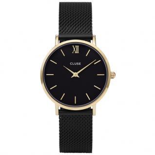 CLUSE CL30026 Minuit Mesh Black/Gold Uhr Damenuhr Edelstahl Schwarz