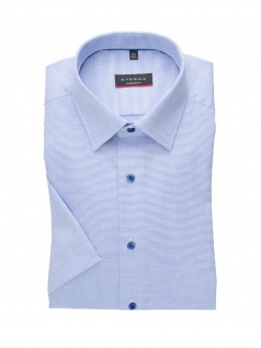 Eterna Herren Hemd Kurzarm Modern Fit Natté strukturiert Blau L/42