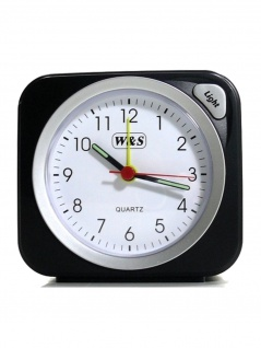 W&S 030409 Wecker Uhr schwarz-silber Analog Licht Alarm