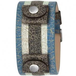Fossil Uhrband LB-JR8372 Original Lederband blau/weiss