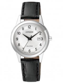 Citizen FE1081-08A DAU LEDER Eco-Drive Uhr Damenuhr Datum Schwarz