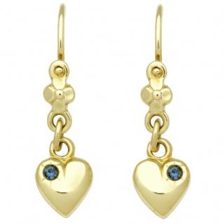 Basic Gold KI48 Mädchen Ohrringe Herz 14 Karat (585) Gelbgold Blau