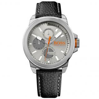 Boss Orange 1513156 New York Uhr Herrenuhr Lederarmband Datum schwarz