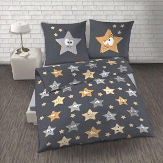 IDO Renforcé Bettwäsche 2tlg. Sterne funky Grau Bettbezug 135x200 cm - Vorschau 2