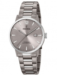 FESTINA F20435/2 Uhr Herrenuhr Titan Datum Grau