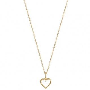 XENOX XS2795G Damen Collier Herz Love Story Gold weiß 45 cm
