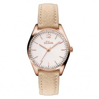 s.Oliver SO-3321-LQ Uhr Damenuhr Lederarmband Beige