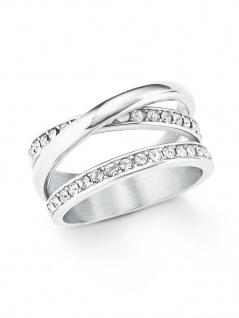 s.Oliver 2021056 Damen Ring Edelstahl Silber Weiß 56 (17.8)