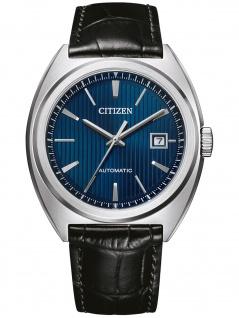 Citizen NJ0100-46L Mechanisch Uhr Herrenuhr Lederarmband Datum schwarz