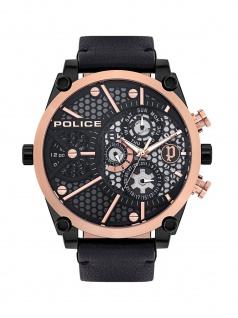 POLICE PL.15381JSBR/61 VIGOR Uhr Herrenuhr Lederarmband Datum Schwarz