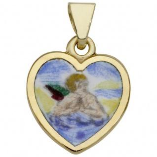 Basic Gold TG21 Kinder Anhänger Herz Schutzengel 14 Karat (585) Gold